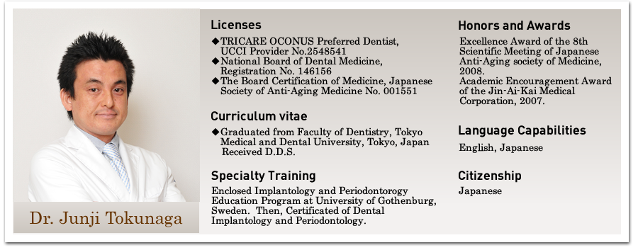 Dr. Junji Tokunaga Profile|Licenses|◆TRICARE OCONUS Preferred Dentist, UCCI Provider No.        2548541 ◆National Board of Dental Medicine,Registration No. 146156  ◆The Board Certification of Medicine, Japanese Society of     Anti-Aging Medicine No. 001551|◆Graduated from Faculty of Dentistry, Tokyo  Medical and Dental University, Tokyo, Japan Received D.D.S.|Enclosed Implantology and Periodontorogy Education Program at University of Gothenburg, Sweden.  Then, Certificated of Dental Implantology and Periodontology.|Excellence Award of the 8th Scientific Meeting of Japanese Anti-Aging society of Medicine, 2008. Academic Encouragement Award of the Jin-Ai-Kai Medical Corporation, 2007.