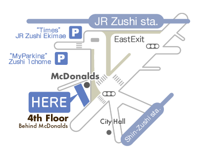 1-5-4-4F, Zushi Zushi-shi Kanagawa Japan.  The clinic is in front of JR Zushi station. You can find McDonalds there. The clinic is in the building, behind McDonalds, on the 4th floor.